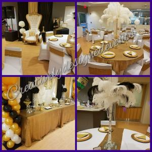 gold white feather 40th